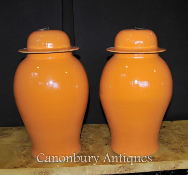 Pair Chinese Kangxi Porcelain Temple Ginger Jars Urns