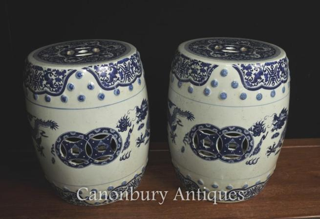 Pair Chinese Nanking Blue and White Porcelain Garden Stools Dragon Seats