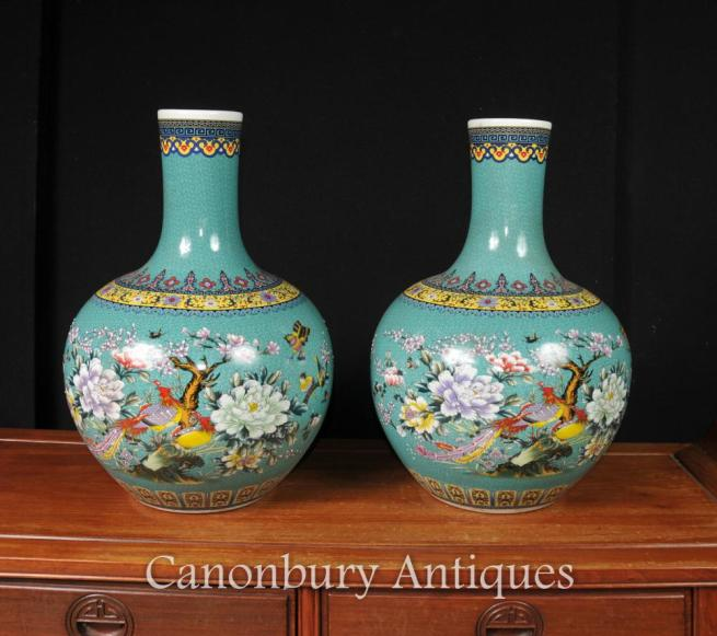 Pair Chinese Qianlong Porcelain Bulbous Vases Urns Bird of Paradise Shangping