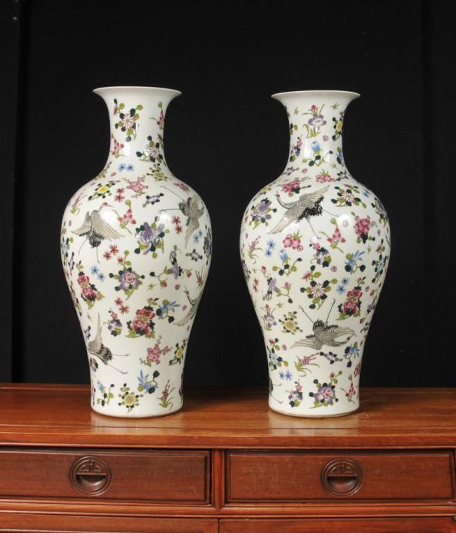 Pair Chinese Qianlong Porcelain Vases Floral Cranes Ceramic Urns