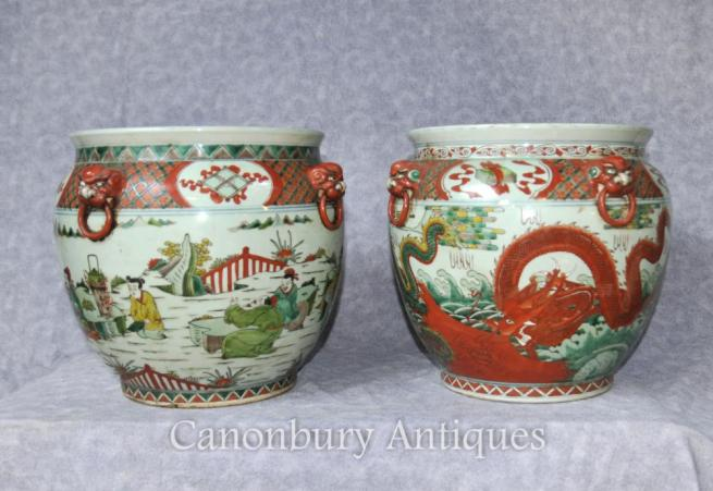 Pair Chinese Qianlong Pottery Planters Porcelain Urns