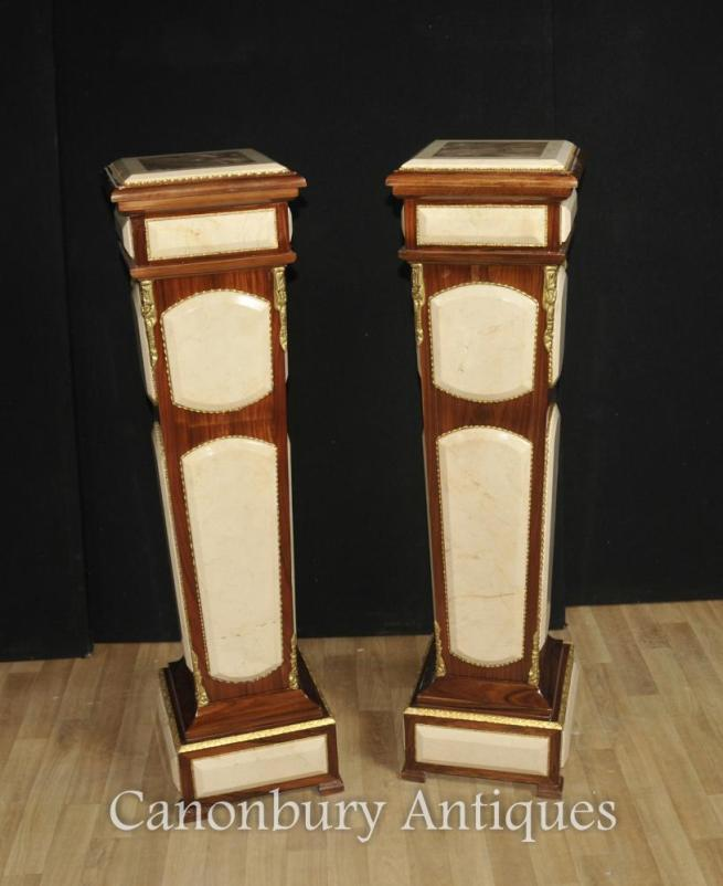 Pair Empire Pedestal Stand Tables Columns Carrera Marble