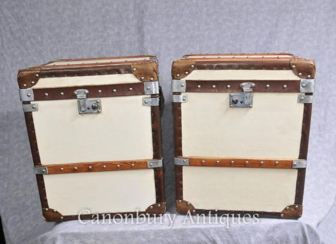 Pair English Leather Luggage Boxes Steamer Trunks Side Tables