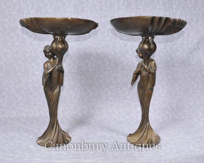 Pair French Art Nouveau Bronze Female Figurine Dishes Comports
