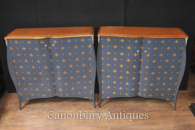 Pair French Art Nouveau Painted Cabinets Fleur De Lys