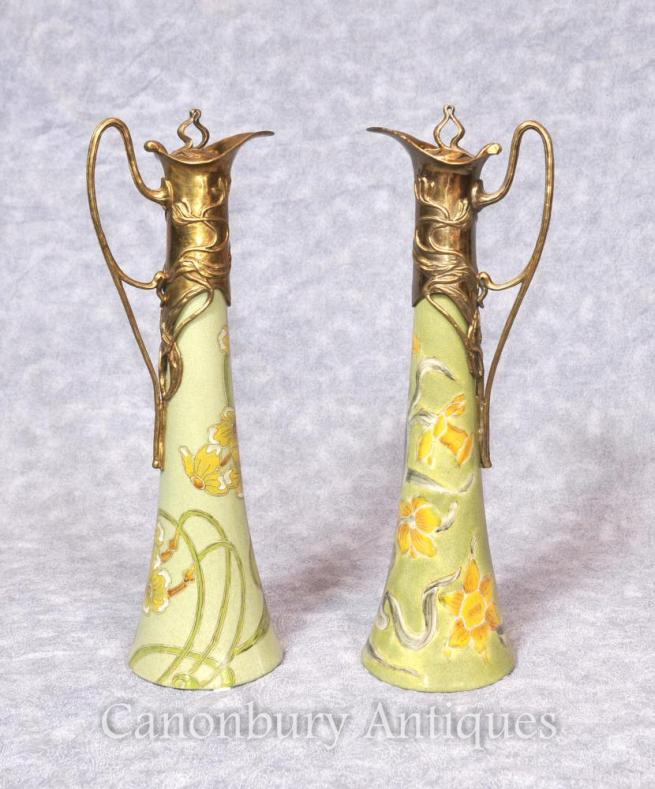 Pair French Art Nouveau Porcelain Jugs Decanters Cermaic