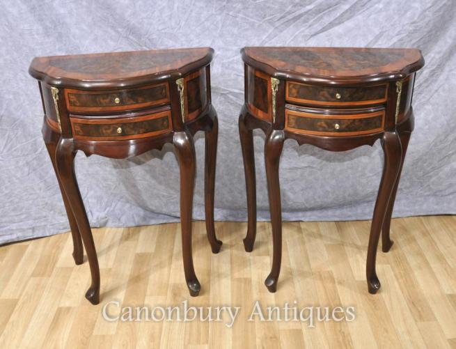 Pair French Empire Bedside Chests Nightstands