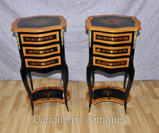 Pair French Empire Black Lacquer Bedside Chests Nightsands