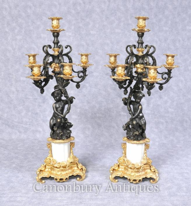 Pair French Empire Bronze Cherub Candelabras Candles
