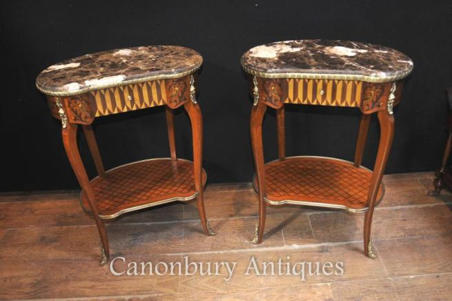Pair French Empire Kidney Bean Side Tables Cocktail Table