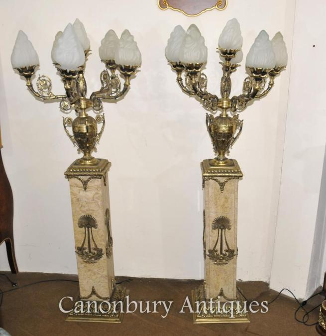Pair French Empire Marble Pedestal Column Ormolu Candelabras Lights
