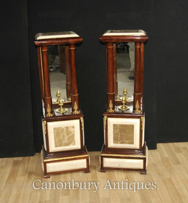 Pair French Empire Marble Pedestal Column Stands Tables Mirrored