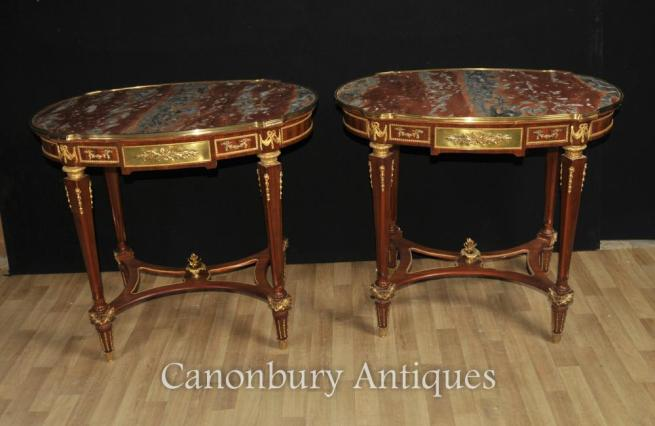 Pair French Empire Marble Side Tables Table Furniture