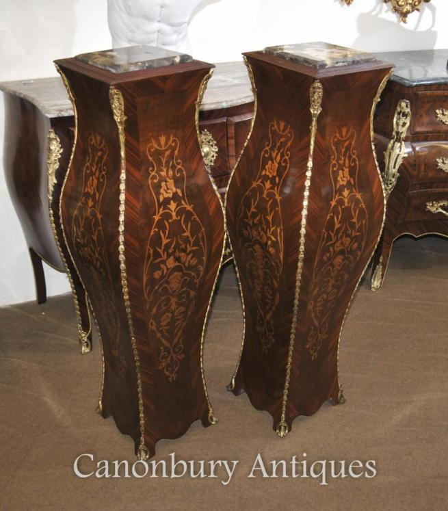 Pair French Empire Pedestal Tables Stands Bombe Form