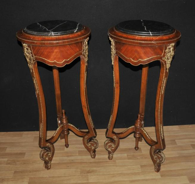 Pair French Empire Tall Side Table Pedestal Stands