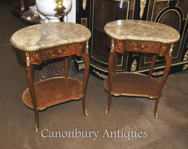 Pair French Louis XVI Kidney Bean Side Tables