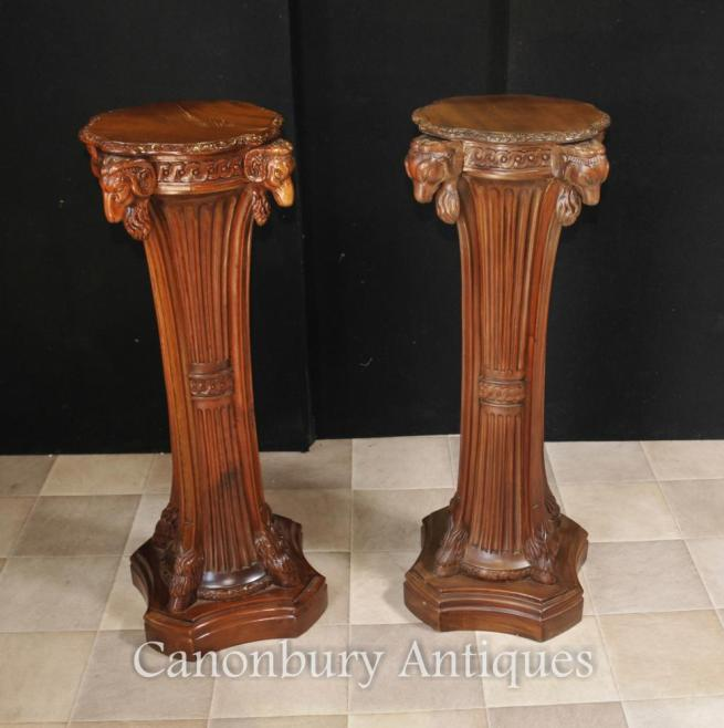 Pair French Regency Table Pedestal Table Stands Column Rams Heads