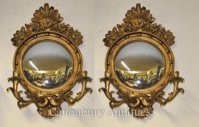 Pair French Rococo Convex Mirrors Girandole Candelabras