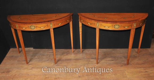 Pair Hepplewhite Demi Lune Painted Console Tables Satinwood