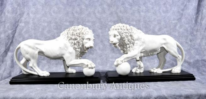 Pair Italian Stone Medici Lions Paw Ball Cats Statues