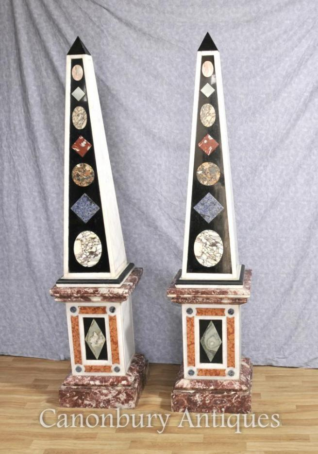Pair Large Antique Italian Marble Obelisks on Pedestal Stands