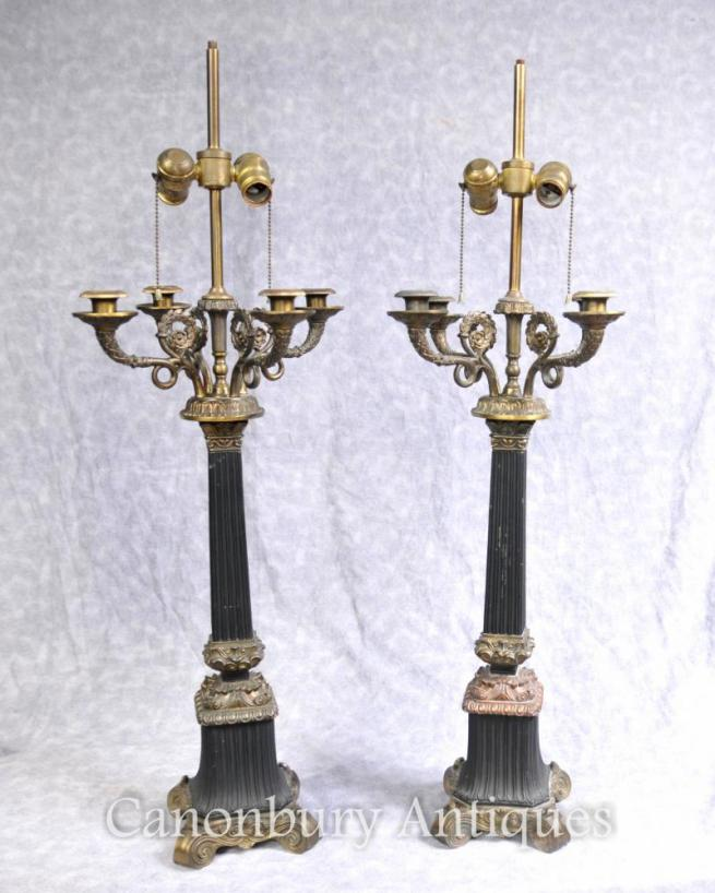 Pair Large French Empire Table Lamps Candelabras Lights