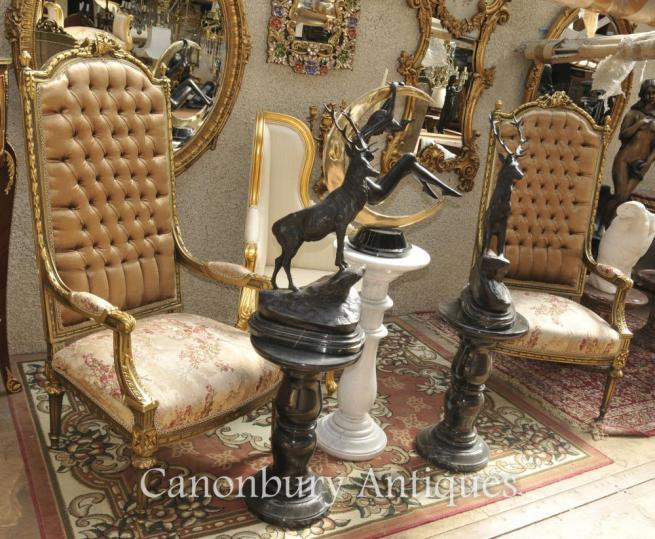 Pair Louis XVI Gilt Arm Chairs Hight Back Fautueils