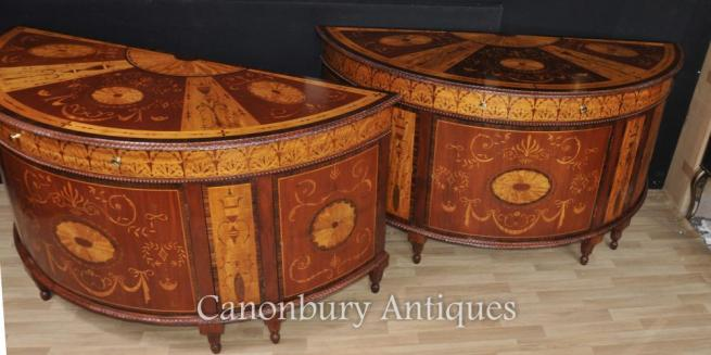 Pair Regency Inlaid Commodes Demi Lune Cabinets Marquetry Inlay