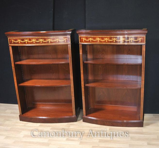 Pair Regency Open Bookcases Mahogany Adjustable Shelving Sheraton Inlay