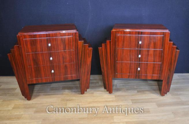 Pair Rosewood Art Deco Bedside Chests Streamlined