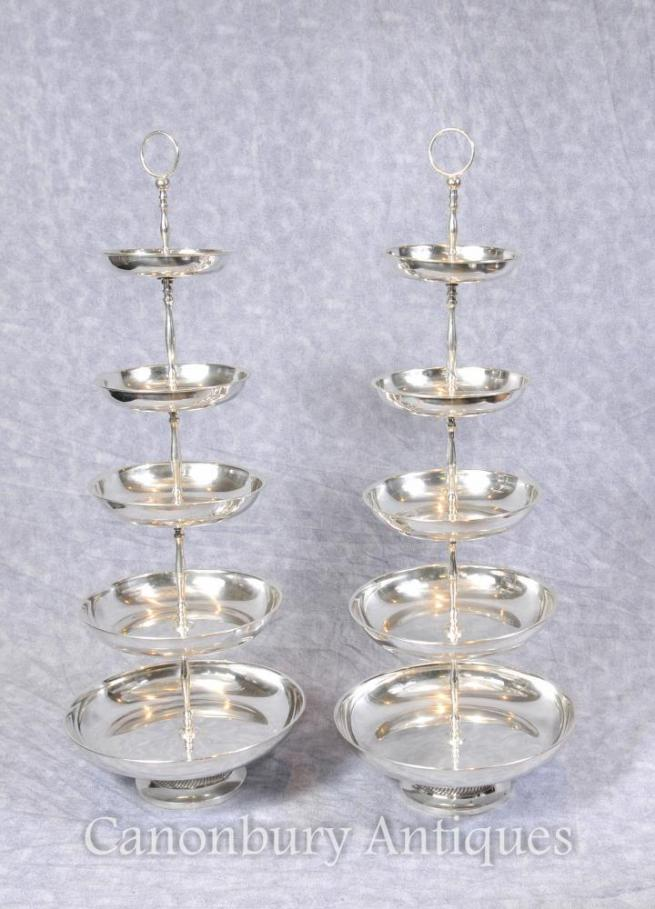 Pair Sheffield Silver Plate Cake Stands Tiered Dish Stand