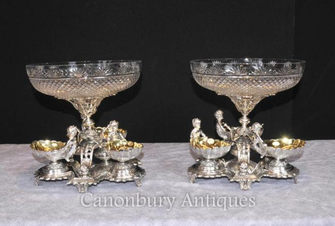 Pair Sheffield Silver Plate Cherub Bowls Dishes Centerpiece Crystal Glass