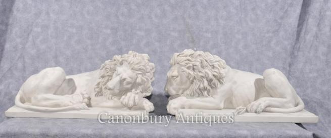 Pair Stone Italian Recumbant Sleeping Lions Cat Statue Sculpture