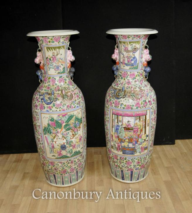 Pair XL Chinese Cantonese Porcelain Urns Vases Hand Painted Amphora