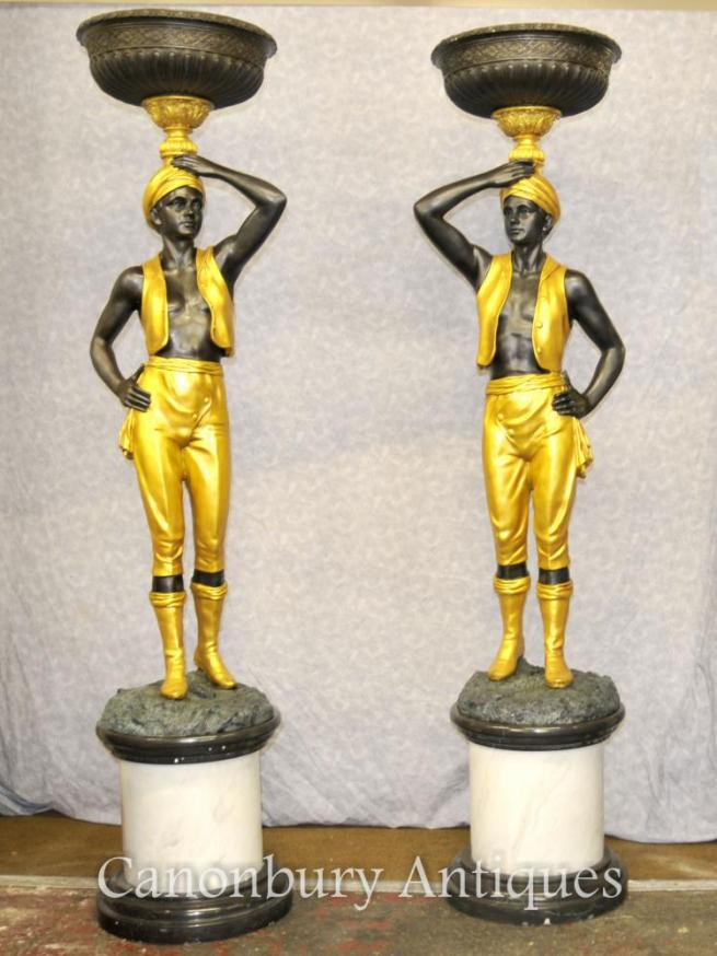 Pair XL Italian Bronze Blackamoor Statues Torcheres Architectural