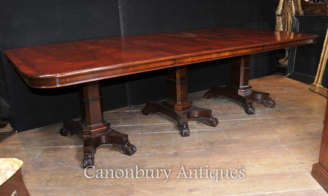 Regency Dining Table Mahogany Triple Pedestal Manner George Bullock