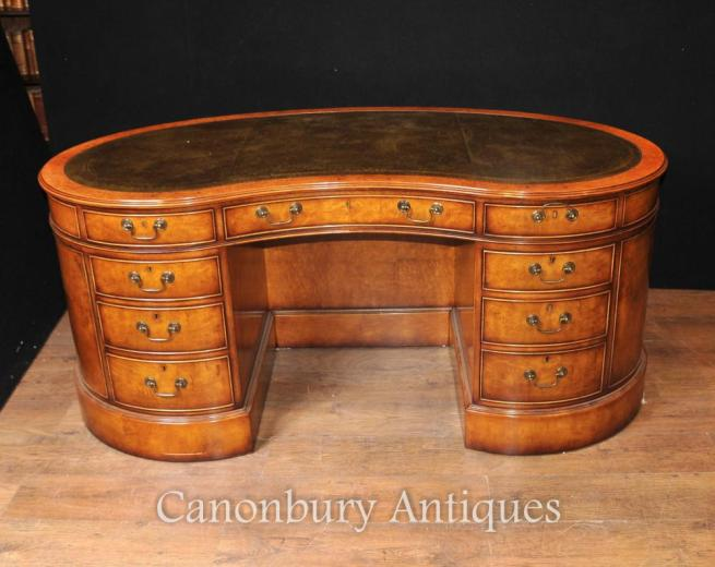 Regency Kidney Bean Desk in Satinwood Writing Tables English Desks