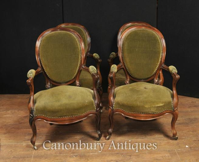 Set 4 French Antique Arm Chairs Regency walnut Fautueils 1880