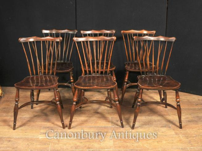 Set 8 Antique Oak Windsor Chairs 1920 Kitchen Dining Chair