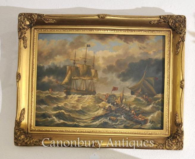 Victorian English Oil Painting Sea Scape Ship Maritime Signed A Hess