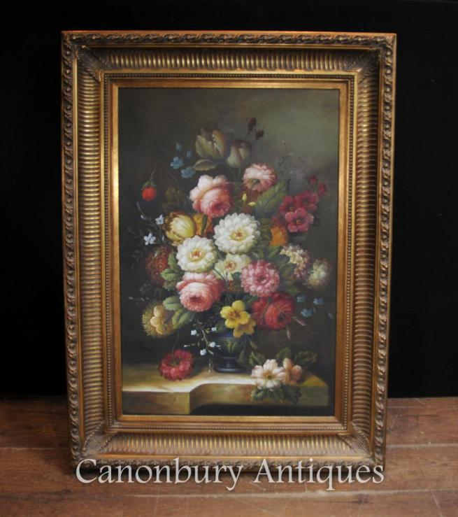 Victorian Floral Still Life Oil Painting Gilt Frame Flowers