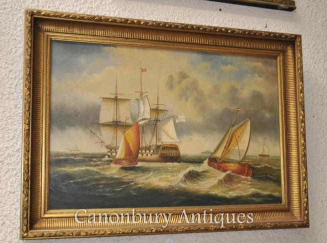 Victorian Oil Painting Galleon Ship Maritime Seascape