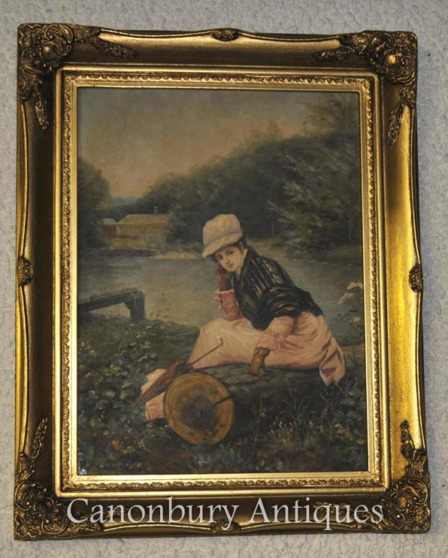 Victorian Oil Painting Potrait Young Girl on Thames London