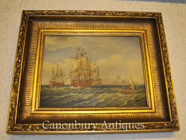 Victorian Oil Painting Sea Scape Maritime Signed