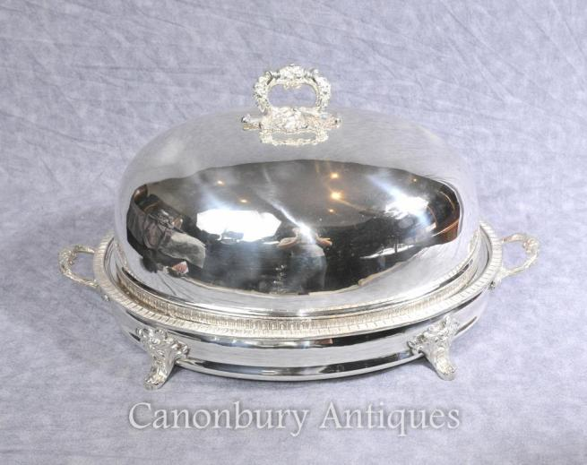 Victorian Silver Plate Serving Dome Platter Meat Tray Food Warmer