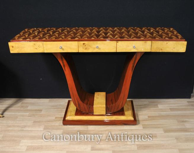 Wide Art Deco Console Table Inlay Modernist Furniture