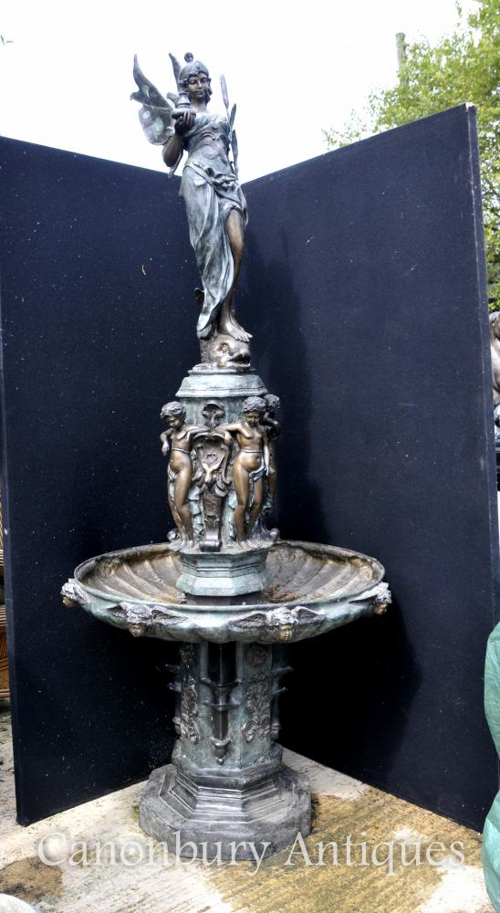 XL Bronze Italian Renaissance Fountain Maiden Cherubs Tiered Architectural Water Feature
