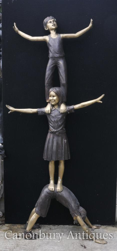 XL Lifesize Bronze Statue Three Children Acrobatics Garden Sculpture