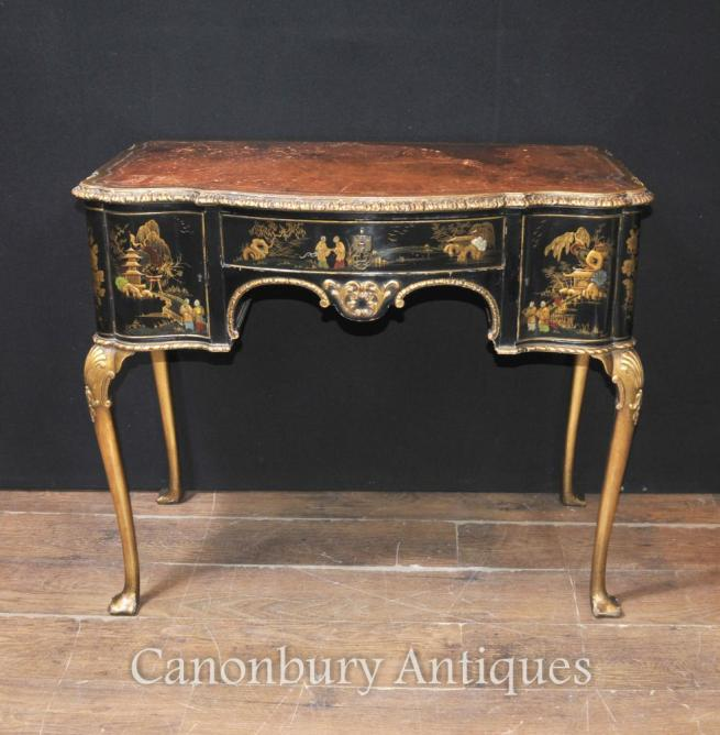 Antique English Chinoiserie Ladies Writing Desk Table 1900