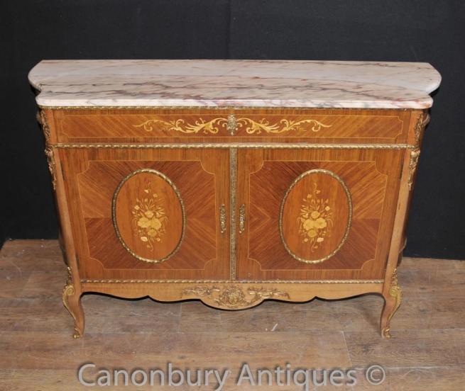 Antique French Empire Cabinet Credenza Sideboard Marquery Inlay Furniture